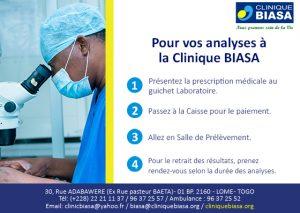 Vos analyses à la Clinique Biasa en 4 étapes