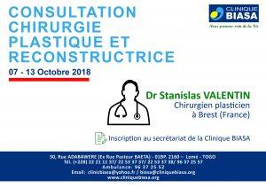 Consultation chirurgie plastique et reconstructrice- Docteur Stanislas VALENTIN du 07 au 13 Octobre 2018