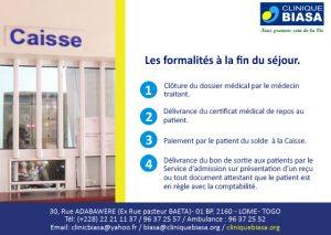 Les formalités à la fin du séjour à la Clinique Biasa en 4 étapes