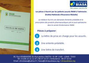 Les pièces à fournir par les patients assurés INAM à l'admission à la Clinique Biasa en 3 étapes