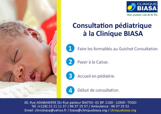 Consultation pédiatrique à la Cinique Biasa en 4 étapes