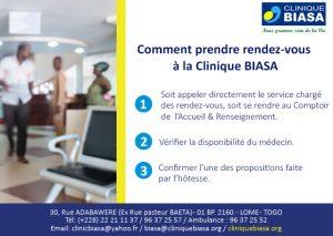 Comment prendre rendez-vous à la Clinique Biasa en 3 étapes