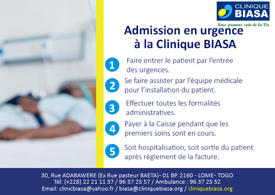 Admission aux urgences à la Clinique Biasa en 5 étapes